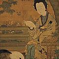 Lady Reading a Book, Chou Wen-chü, <b>Five</b> <b>Dynasties</b> Period (Southern T'ang), Hanging Scroll