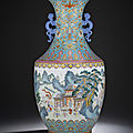 A magnificent fine <b>turquoise</b>-<b>ground</b> Famille Rose 'Hundred Boys' vase, Qianlong six-character seal mark and of the period