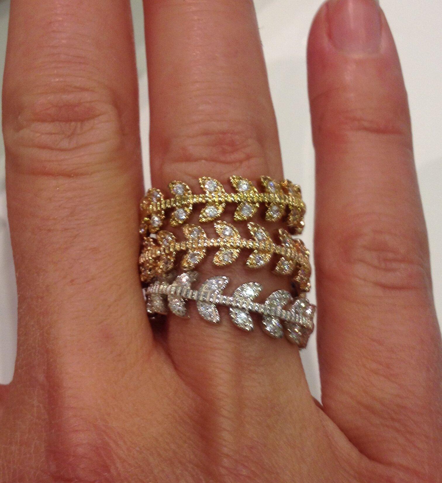 Bague 'Epi' en argent, plaqué or, plaqué or rose et zirconium