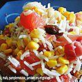 Salade de riz, maïs, pamplemousse, jambon cru et graines
