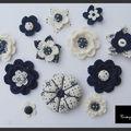 Fleurs au crochet et en tissus