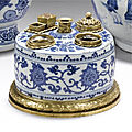 A <b>gilt</b>-<b>metal</b> <b>mounted</b> blue and white inkwell, the porcelain Ming dynasty, 16th century, the mounts later