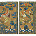 A pair of embroidered civil official's rank badges of peacocks,<b>buzi</b>, Kangxi period (1662-1722)