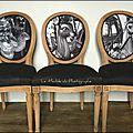 Chaises médaillon phoque, biche, cheval, relookées photo noir et blanc 2e série