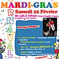 Venez fêter <b>Mardi</b>-Gras Samedi 22 février de 14h à 17h30 (spectacle gratuit)