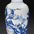 A blue and white <b>copper</b>-<b>red</b> decorated vase, Kangxi period (1662-1722)