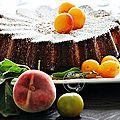 Gâteau mirabelles, pêche, reine-claude