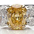 Platinum Ring w/ Vivid Yellow Orange <b>Oval</b> <b>Diamond</b>