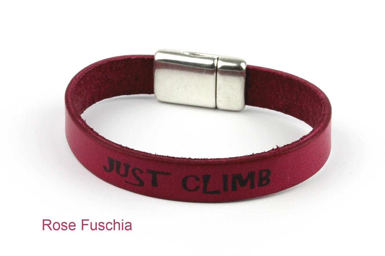 bracelet cuir escalade rose fuschia
