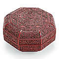 A carved red and <b>black</b> lacquer octagonal box and cover, Jiajing six-character incised and gilt mark and of the period (1522-1566
