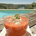 Soupe froide tomate, pastèque, menthe avec ou sans feta