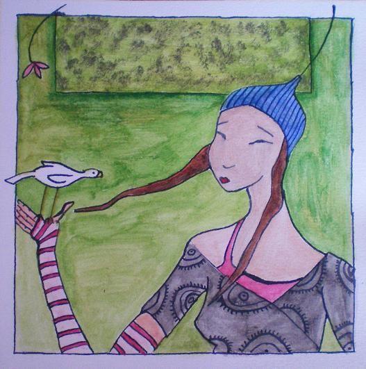 Femme et oiseau blanc 15sept08