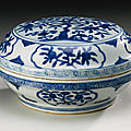 A blue and white <b>box</b> and cover, Jiajing mark and period (1522-1566)