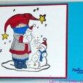 Des bonhommes de neige ... un enfant en hiver ... une carte de voeux colorisée à la main !!