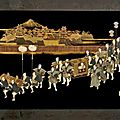 Two Japanese lacquer and mixed <b>inlay</b> 'Foxes wedding' panels, 19th century