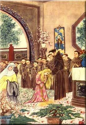François reçoit la tonsure de Ste Claire