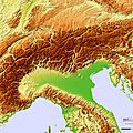 Topographic hillshade map of the Alps