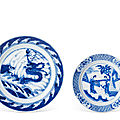 Two blue <b>and</b> white dishes, Kangxi period (1662-1722)