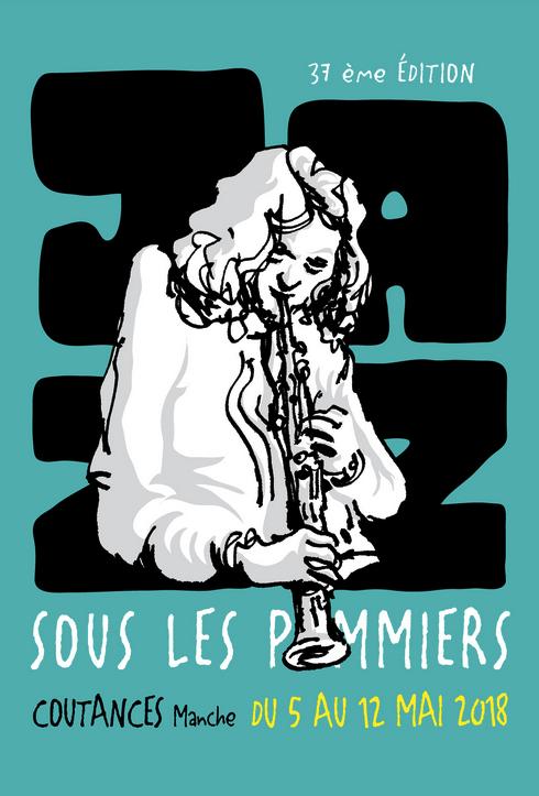 Jazz sous les Pommiers-JSLP-2018-Coutances-visuel-affiche-Jörg Mailliet