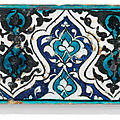A Damascus pottery border tile, Mamluk Syria, late <b>15th</b> <b>century</b>