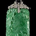 Pendentif en jadéite, diamants taille brillant et onyx, chine