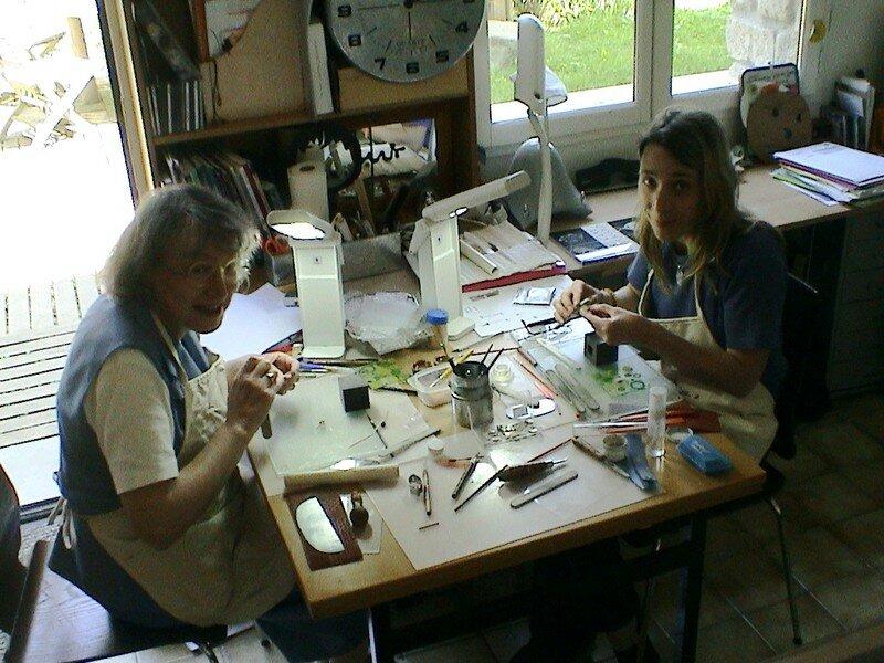 Chantal et Marie-Laure à l'atelier