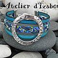 Période bleue qui commence ? Peut-être avec ce <b>bracelet</b> manchette multirangs en tresse de cuir et liberty et cuir bleu !