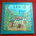 ~ tableau zen chat jardin