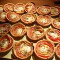 Mini pizzas et muffins aux lardons