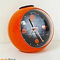 Déco Vintage ... Réveil CHAMBORD * Boule orange