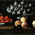 Luis Melendez, attributed (1716 Naples - 1780 Madrid), Still life with figs in serving bowl and plate withe <b>cherries</b> and peaches