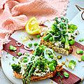 Bruschetta printannière aux légumes primeurs, <b>brousse</b> de <b>brebis</b>, pistaches et citron
