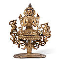 A small gilt-bronze '<b>bodhisattva</b>' group, Ming dynasty (1368-1644)