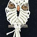 Pendentif <b>macramé</b> chouette - Owl <b>macrame</b> pendant