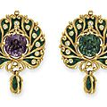 An Art Nouveau Alexandrite, Diamond and Enamel Brooch, by <b>Marcus</b> & Co
