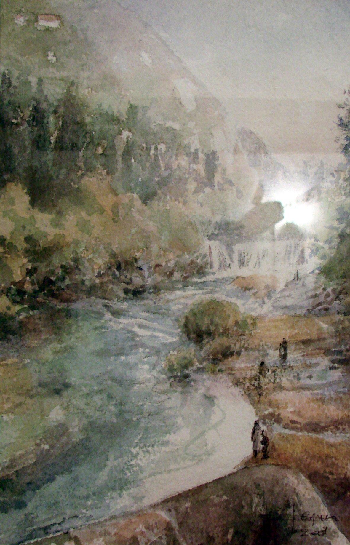 La cascade, aquarelle de Caroline Despres-Garnier