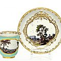 Mug with landscapes on turquoise fond, Meissen, <b>ca</b> <b>1740</b>