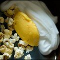 Chaud froid mangue-citron au pop corn.