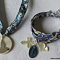 Collier de Confirmation (sur ruban Adeladja bleu) et bracelet de l'Annonciation (sur ruban Meadow parme) - 69 €
