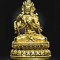 A gilt-bronze figure of <b>Manjushri</b>, Yongle mark and period (1403-1424)