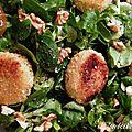 Salade express avec fromages de chèvre panés