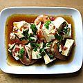 Tofu aux crevettes et jambon cru