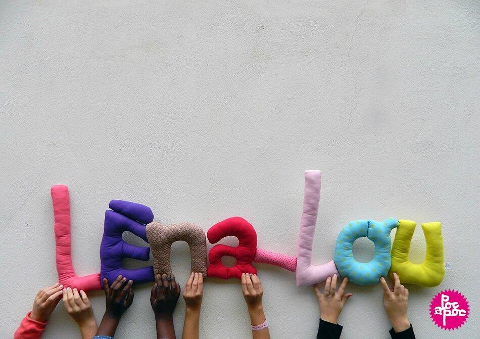 léna-lou,mot en tissu,mot decoratif,cadeau de naissance,decoration chambre d'enfant,cadeau personnalise,cadeau original,poc a poc blog