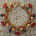 bracelet breloque grande fleur bordeaux