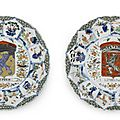 Two rare famille verte armorial 'Province' dishes for the <b>Dutch</b> <b>Market</b>, Circa 1720