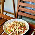 Nouilles sautées à la sauce soja, poulet, chou chinois, carotte et oignon rouge