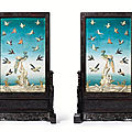 A pair of <b>ivory</b>-<b>inlaid</b> lacquer panels and wood stands, Qing dynasty, Qianlong period (1736-1795)