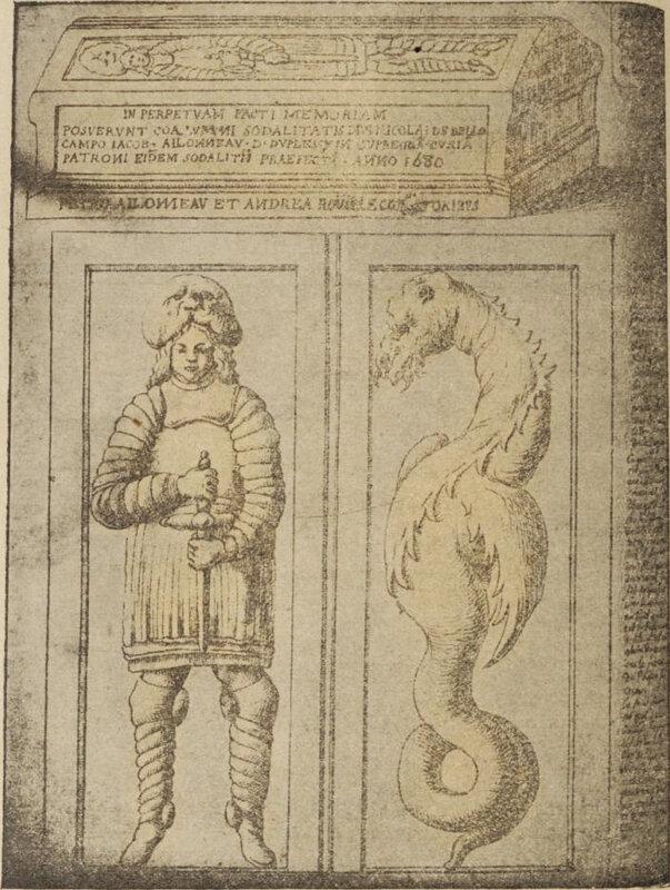 Les_cimetières_de_Niort légende du chavalier au dragon
