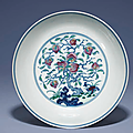 A fine and very raredoucaiandfamille rose'Nine peaches' dish, Yongzheng six-character mark in underglaze blue within a double circle and of the period (1723-1735)