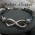 J'ai mal à la tête à l'<b>infini</b> comme ce <b>bracelet</b> en cordon liberty graphique couleurs ciel, orange, noir et blanc, bordé de perle